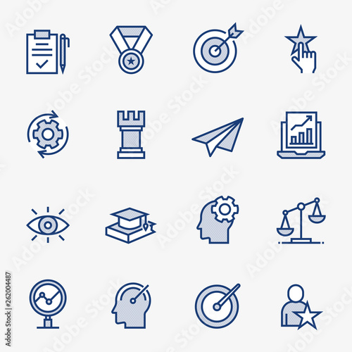 Photo Best Practice Colored Outline Icons. Pixel Perfect