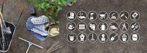 Foto man work in the vegetable garden place a plant in the ground, icons and symbols