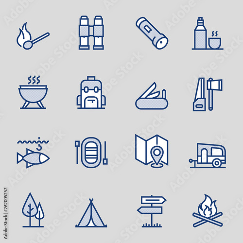 Fotografía  Outdoor Recreation Colored Outline Icons. Pixel Perfect