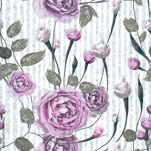 piekny-kwiecisty-wektorowy-bezszwowy-wzor-rozowa-roza-kwiaty-z-liscmi-na-paski-niebieskie-i-biale-tlo-szablon-do-tekstyliow