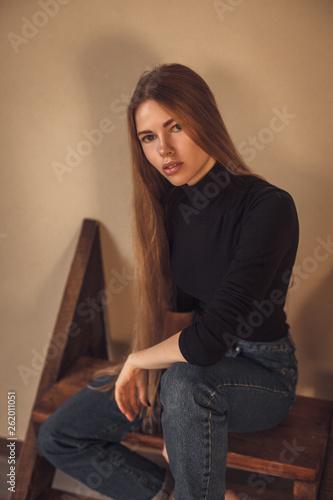 Fototapeta Young long hair model girl posing. Casual Denim style