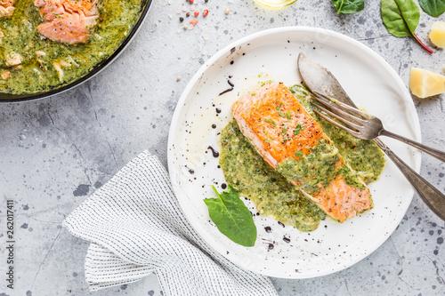 Fototapeta Grilled Salmon with cream sauce obraz