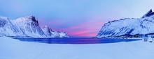 Panoramic View Of Polar Beach And Bay On Island Senja In Lofoten Islands Archipelago In Norway, Scancinavia, Northern Europe. Beautiful Dawn Scenery. Fishing Production Spot.