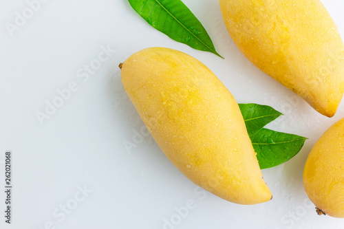 ripe mangoes in top view