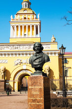 St Petersburg, Russia. Bust Of The Famous Russian Composer Mikhail Glinka And Admiralty,Headquarters Of The Russian Navy