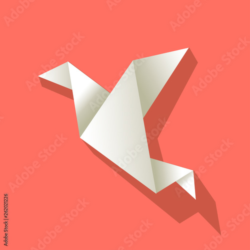 Origami paper bird white on a Coral color background #262021226