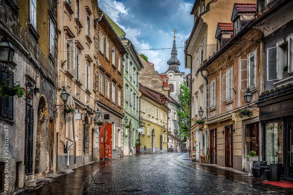 Fototapety, obrazy: Street of the old city Ljubljana after the rain. Ljubljana capital of Slovenia.