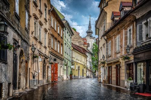 Obraz Street of the old city Ljubljana after the rain. Ljubljana capital of Slovenia. - fototapety do salonu