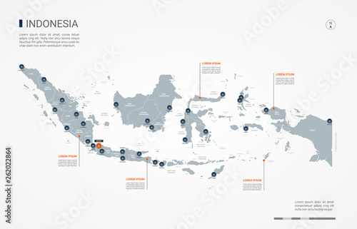 Indonesia map with borders, cities, capital and administrative divisions Wallpaper Mural