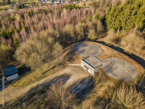 Photo  Aerial view of a bunker with helipad in Marienheide - Kalsbach..
