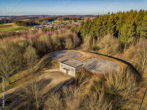 Aerial view of a bunker with helipad in Marienheide - Kalsbach.. Wallpaper Mural