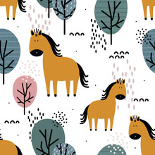Horses And Trees, Hand Drawn Backdrop. Colorful Seamless Pattern With Animals. Decorative Cute Wallpaper, Good For Printing. Overlapping Background Vector. Design Illustration
