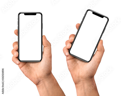 Fotografía  Hand holding smartphone with blank screen isolated on white front view