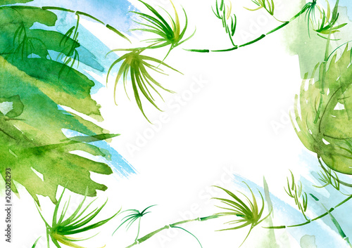 Watercolor Branches, green leaves, fern, palm,liana mint, bamboo. With a place for writing. abstract background, pattern, postcard, card, label. green spot, splash of paint, blot, divorce, color.
