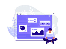 Office Worker. Man Is Working At His Laptop Near Big Computer Monitor And The Infographics On The Background. Work With Data, Analysis. Isolated Flat Vector Illustration.