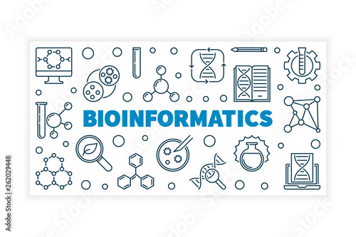 Photo Bioinformatics vector concept illustration or banner in thin line style on white