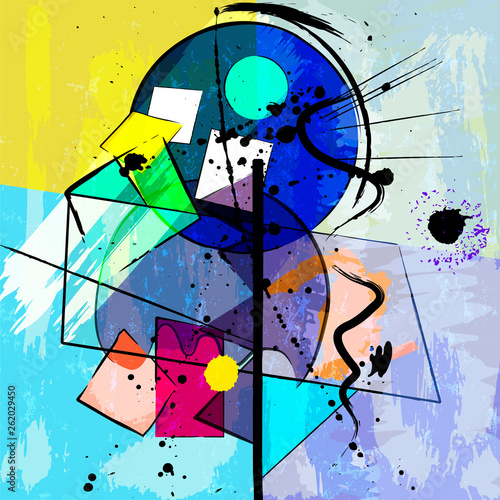 abstract geometric background illustration, with circles, paint strokes and splashes