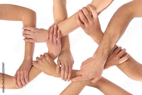 Cuadros en Lienzo Viele Arme und Hände greifen ineinander