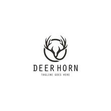 Deer Horn Logo Design Template. Vector Illustration