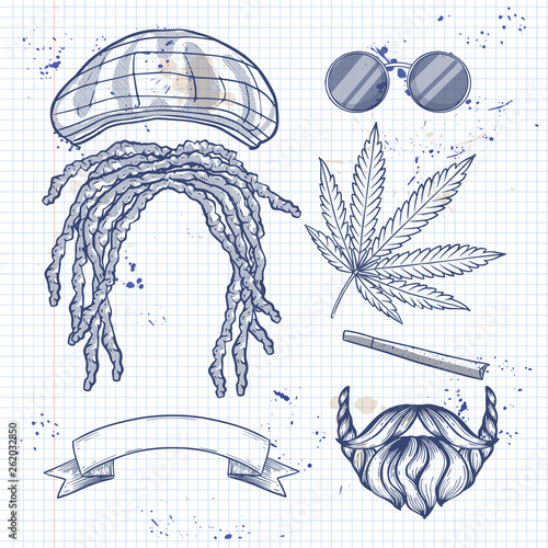 Hand drawn sketch, attributes of rastaman with dreadlocks on a notebook page Canvas Print
