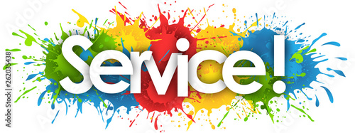 service word in splash's background Billede på lærred