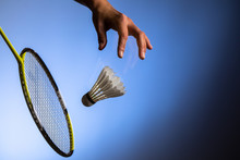 Badminton Racket And Shuttlecock  In Motion Closeup
