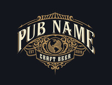 Vintage Pub Logo. Vector Layered