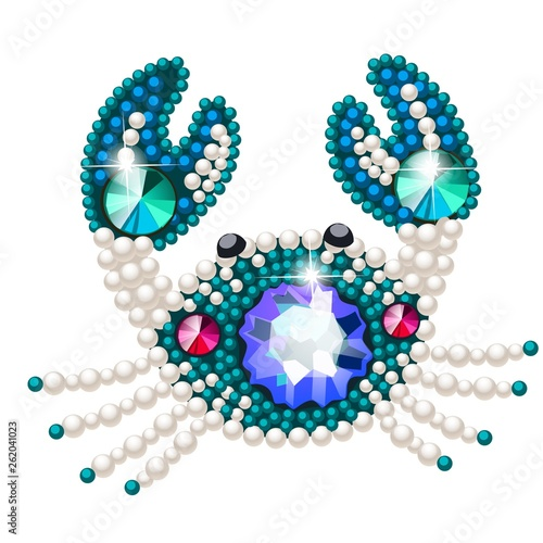 Canvas Print Crab figurine made of precious stones in the form of a brooch isolated on white background