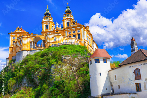 Travel in Austria, Wachau valley, Danube river. Barroque abbey Melk