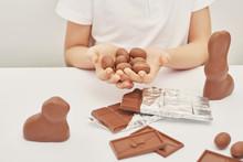 Сhild Boy With Chocolate Bunn...