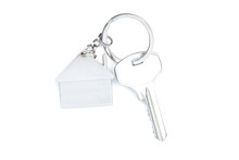 Silver Key With House Symbol Isolated On White Background