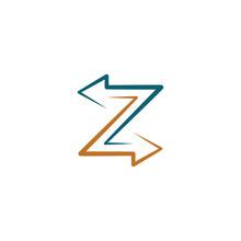 Z Letter Logo With Arrows Symbol Design Element