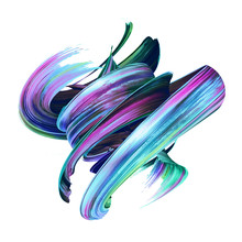 3d Render, Abstract Brush Stro...