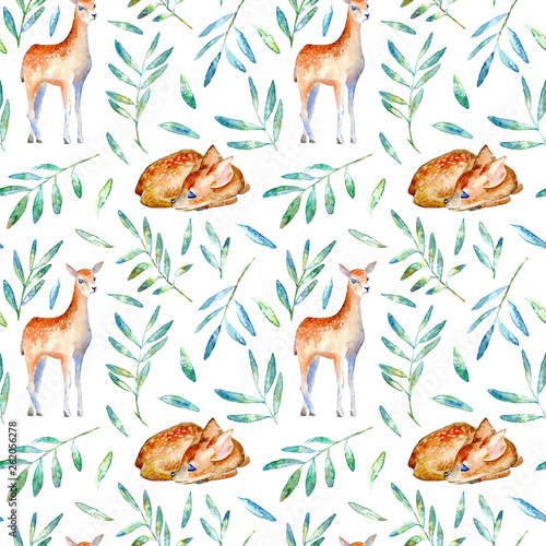 Seamless pattern of a deer and floral Canvas Print
