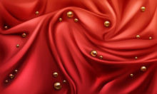 Red Silk Draped Fabric Backgro...