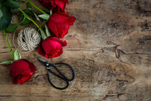 Red Roses With Dark Background. Flat Lay