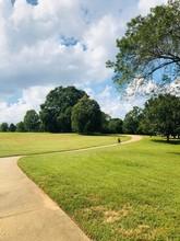 Riding Bike Through Park Path With Green Grass