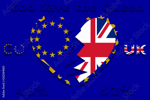 a divided heart with EU and England flags Wallpaper Mural