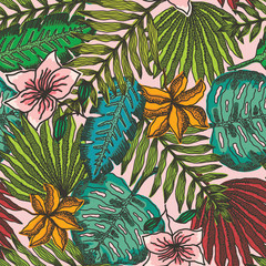 Bright seamless pattern with outline colorful tropical leaves and flowers on light pink background. Trendy exotic plants texture for textile, wrapping paper, surface, wallpaper, background