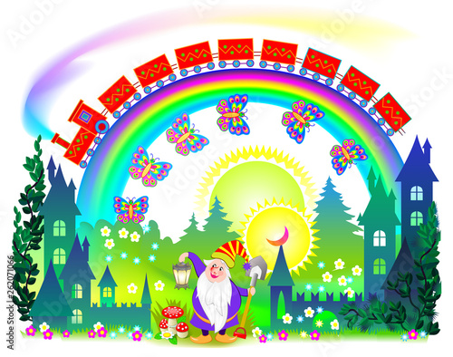 Illustration of fantasy fairyland kingdom  Cover for kids