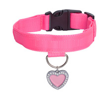 Pink Dog Collar With Heart Tag