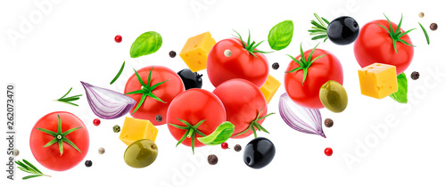 Poster Légumes frais Flying vegetable salad isolated on white background with clipping path, falling fresh salad ingredients