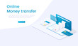Banking investment concept. Money transfer concept. Vector graphic illustration. Money online mobile phone vector. Online banking infographic concept. Isometric people, vector design.