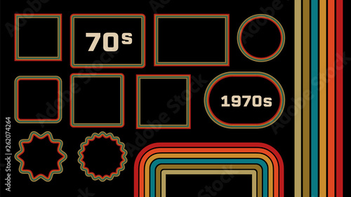 Photographie 1970s Style Museum Picture Frames Vector Set