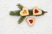 Romantic Linzer Cookies Filled With Strawberry And Apricot Jam