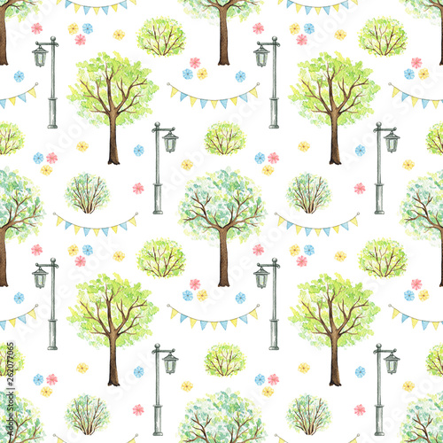 Seamless pattern with cute cartoon flowers, trees, bushes, garland and streetlight isolated on white background. Watercolor hand painted illustration
