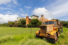 USA, Hawaii, Koloa, Old Sugar Mill Of Koloa And Old Truck