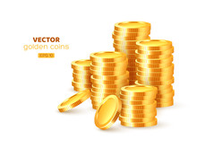 Realistic 3d Golden Stacks Of Coins. Gold Money Isolated On White Background. Vector Illustration.