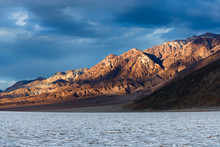 Sunset Over Badwater Basin, Death Valley National Park, California. At -282 Feet Below Sea Level It Is The Lowest Point In North America.