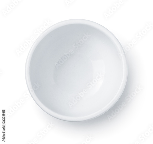 Photo Top view of white empty ceramic dip bowl